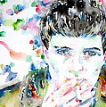 Ian Curtis Smoking Cigarette Watercolor Portrait by Fabrizio Cassetta