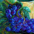 Impressionist Grapes and Wine Print by Eloise Schneider