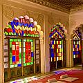 India, Stained Glass Windows Of Fort by Bill Bachmann