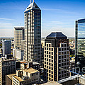 Indianapolis Aerial Picture Of Downtown Office Buildings by Paul Velgos