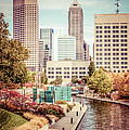 Indianapolis Skyline Old Retro Picture by Paul Velgos