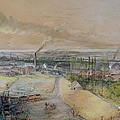Industrial Landscape in the Blanzy Coal Field Print by Ignace Francois Bonhomme