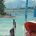 Inlet With Sailboat    Laconner Wa by Raymond Kaler