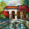 Italian Abbey Garden Scene With Fountain by Regina Femrite