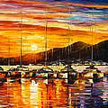 Italy Naples Harbor by Leonid Afremov