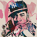 Jay-z Stylised Etching Pop Art Poster by Kim Wang