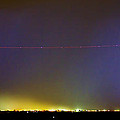 Jet Over Colorful City Lights And Lightning Strike Panorama by James BO  Insogna