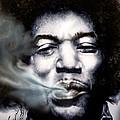 Jimi Hendrix-burning Lights-2 by Reggie Duffie