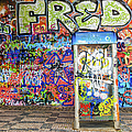 John Lennon Wall in Prague with colorful graffiti