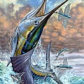 Jumping Sailfish And Flying Fishes by Terry Fox