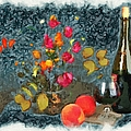 Kitchen - Peaches And Wine Painting  by Liane Wright