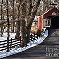Knecht's Bridge On Snowy Day - Bucks County by Anna Lisa Yoder