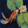 Koi and White Lily Print by Michael Creese