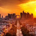 La Defense And Champs Elysees At Sunset by Michal Bednarek