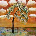 Landscape Art Scenic Tree Tangerine Sky by Blenda Studio