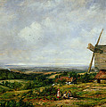 Landscape With Figures By A Windmill by Frederick Waters Watts