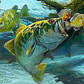 Large Mouth Bass And Blue Gills by Savlen Art