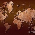 Leather World Map Print by Zaira Dzhaubaeva