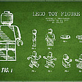 Lego Toy Figure Patent Drawing From 1979 - Green by Aged Pixel