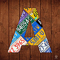 Letter A Alphabet Vintage License Plate Art by Design Turnpike