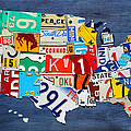 License Plate Map Of The United States - Small On Blue by Design Turnpike