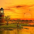 Lighthouse At Sunset by John Junek