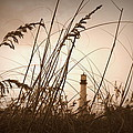 Lighthouse in the Distance inn Sepia Print by Laurie Perry