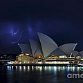 Lightning Behind The Opera House by Kaye Menner