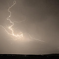 Lightning Goes Boom In The Middle Of The Night Sepia by James BO  Insogna