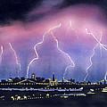 Lightning On The Bay Bridge by Janaka Ruiz