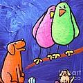 Limb Birds - Big Dog Little Dog Print by Linda Eversole