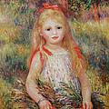 Little Girl Carrying Flowers by Pierre Auguste Renoir
