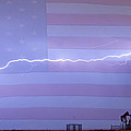 Long Lightning Bolt Across American Oil Well Country Sky by James BO  Insogna