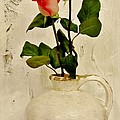 Long Stemmed Red Roses In Pottery by Marsha Heiken