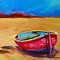 Low Tides - Landscape Of A Red Boat On The Beach by Patricia Awapara