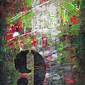 Lucky Number 9 Green Red Grey Black Abstract By Chakramoon by Belinda Capol