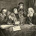 Luther Melancthon Pomeranus And Cruciger Translating  by English School