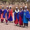 Maasai Women In Front Of Their Village In Tanzania by Michal Bednarek