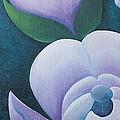Magnificent magnolia buds vertical pink flower bud closeup textu Print by Christina Rahm