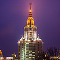Main Building Of Moscow State University At Winter Evening - Featured 3 by Alexander Senin
