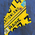 Maine License Plate Map Vintage Vacationland Motto by Design Turnpike