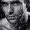 Man Face Wet From Water Running Down It Black And White by Oleksiy Maksymenko