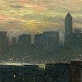 Manhattans Misty Sunset by Childe Hassam