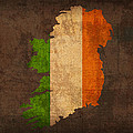 Map of Ireland With Flag Art on Distressed Worn Canvas Print by Design Turnpike