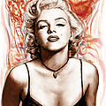 Marilyn Monroe Pop Art Drawing Sketch Portrait by Kim Wang