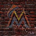 Marlins Baseball Graffiti On Brick  by Movie Poster Prints