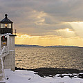 Marshall Point Lighthouse In Winter Maine  by Keith Webber Jr