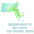Massachusetts - Bay State - Old Colony State - Map - State Phrase - Geology by Andee Design