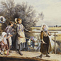 May Day Garlands Print by Myles Birket Foster