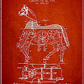 Mechanical Horse Patent Drawing From 1893 - Red by Aged Pixel